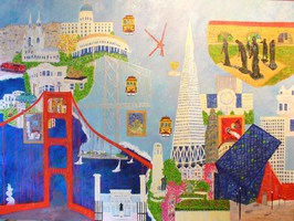 """My Impressions of San Francisco"": Oil on Masonite, 36 in. X 48 in. Little cable cars climbing half-way to the stars enticed me to imagine an exotic and foreign place that Tony Bennett introduced me t"